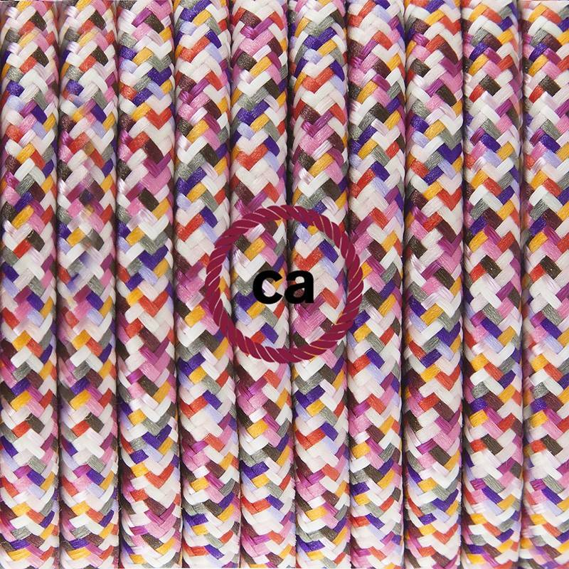 Pendel único, lámpara colgante cable textil Pixel Fuchsia RX00