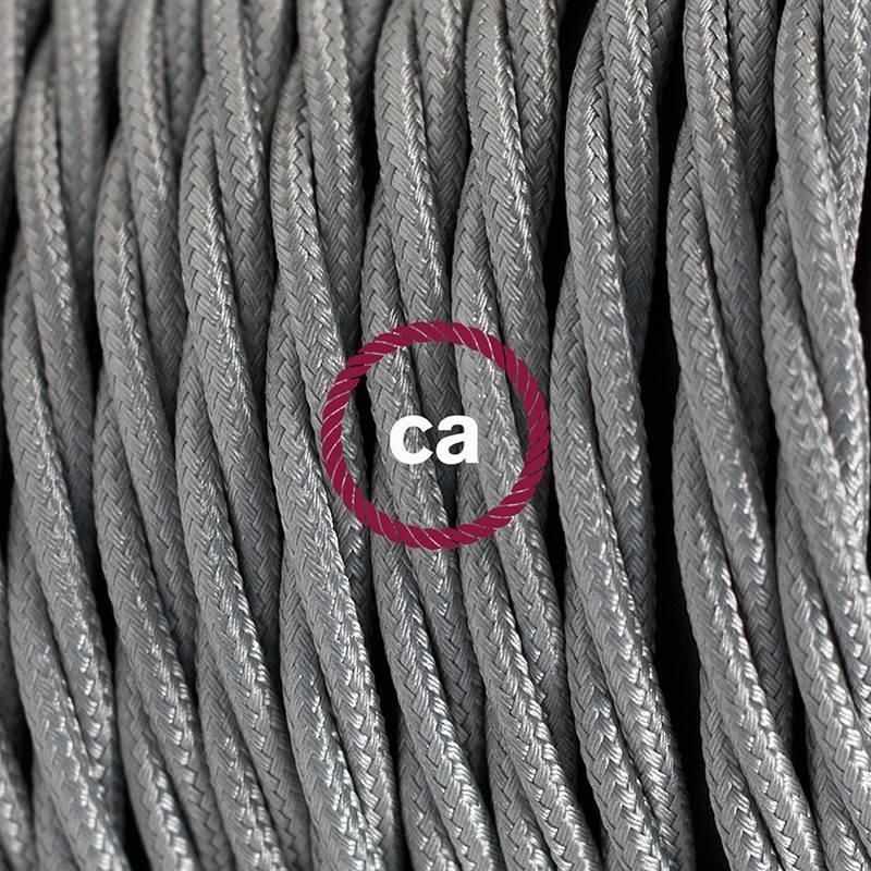 Pendel único, lámpara colgante cable textil Plateado en tejido Efecto Seda TM02