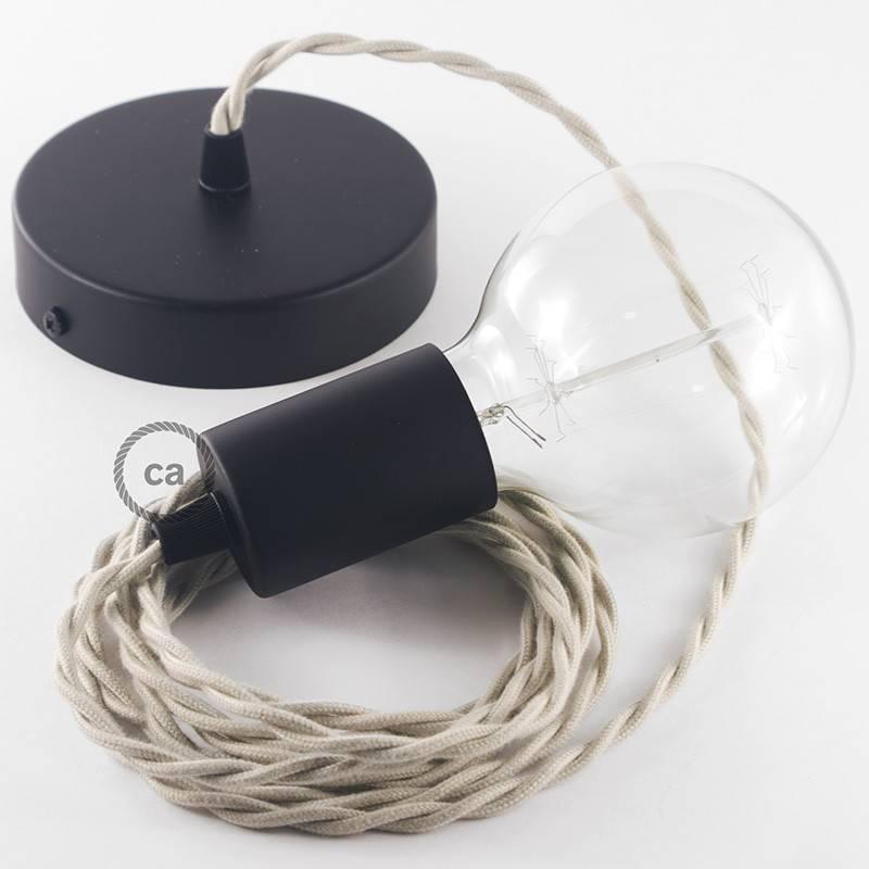 Pendel único, lámpara colgante cable textil Gris pardo en Algodón TC43