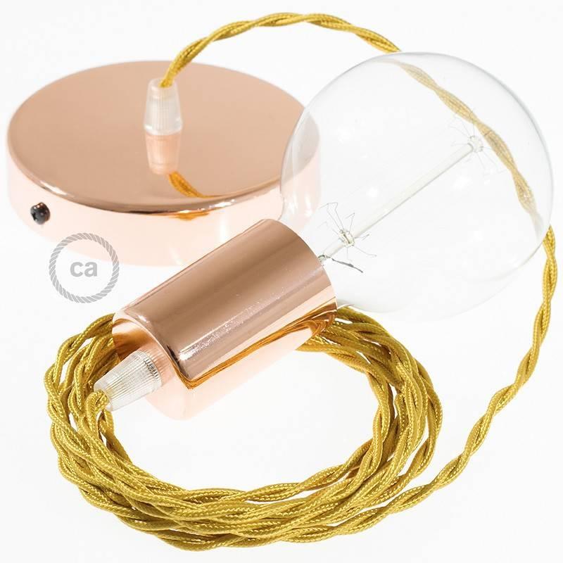 Pendel único, lámpara colgante cable textil Dorado en tejido Efecto Seda TM05