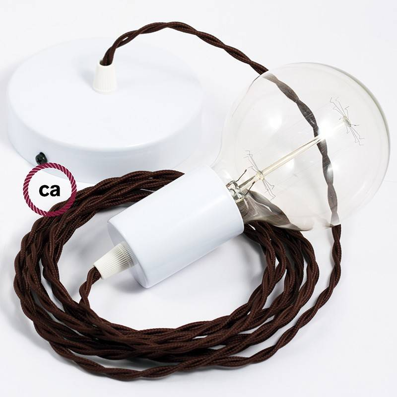 Pendel único, lámpara colgante cable textil Marrón en tejido Efecto Seda TM13