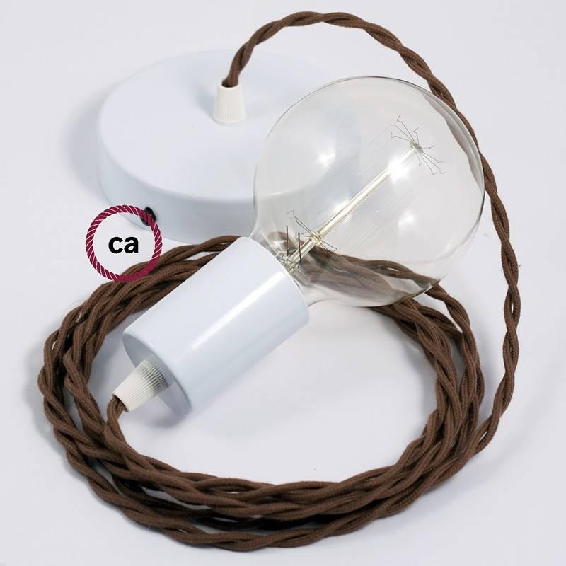 Pendel único, lámpara colgante cable textil Marrón en Algodón TC13