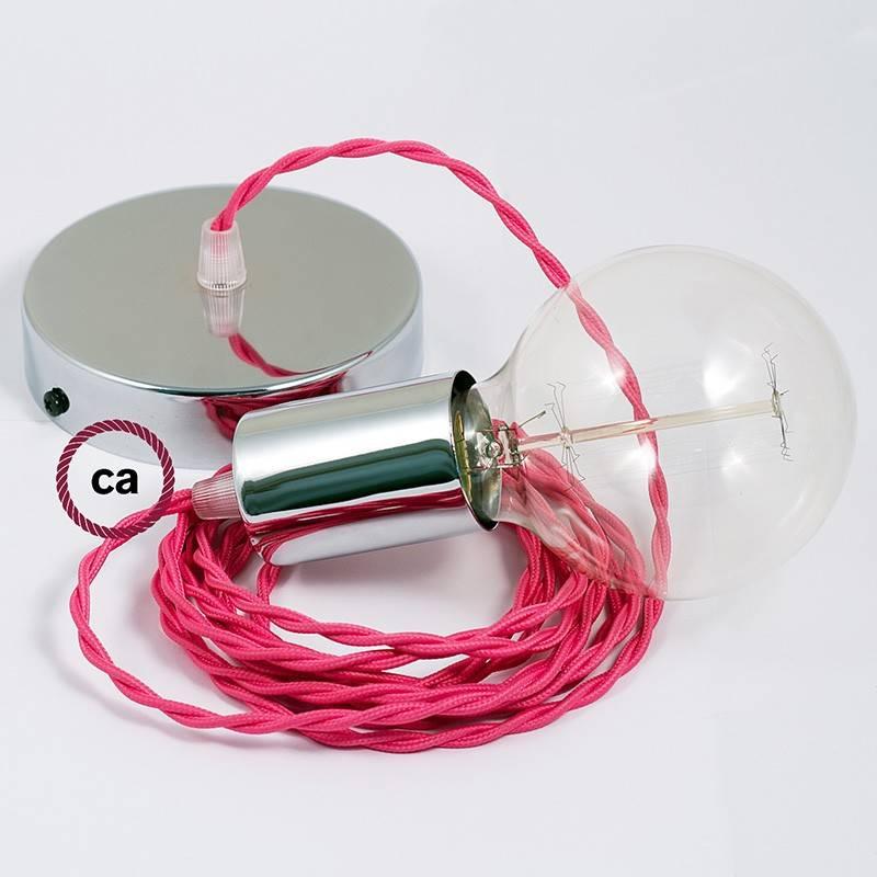 Pendel único, lámpara colgante cable textil Fuchsia en tejido Efecto Seda TM08