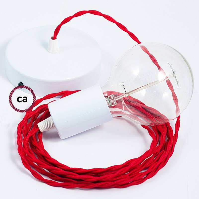 Pendel único, lámpara colgante cable textil Rojo en tejido Efecto Seda TM09