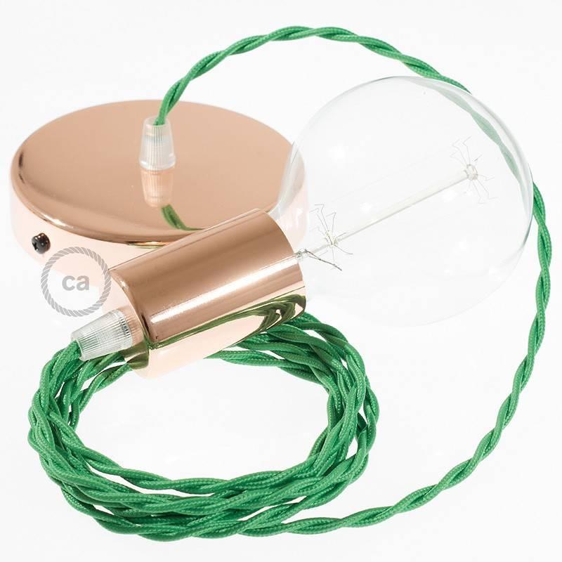 Pendel único, lámpara colgante cable textil Verde en tejido Efecto Seda TM06