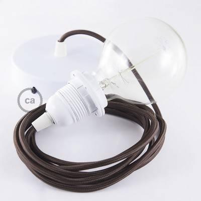 Pendel para pantalla, lámpara colgante cable textil Marrón en tejido Efecto Seda  RM13