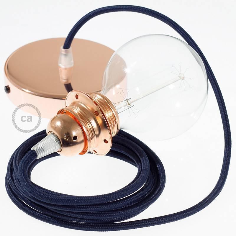 Pendel para pantalla, lámpara colgante cable textil Azul Marino en tejido Efecto Seda RM20