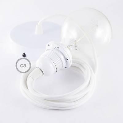 Pendel para pantalla, lámpara colgante cable textil Blanco en tejido Efecto Seda  RM01