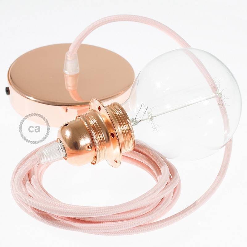 Pendel para pantalla, lámpara colgante cable textil Rosa Baby en tejido Efecto Seda RM16