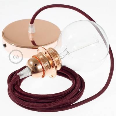 Pendel para pantalla, lámpara colgante cable textil Bordeos en tejido Efecto Seda  RM19