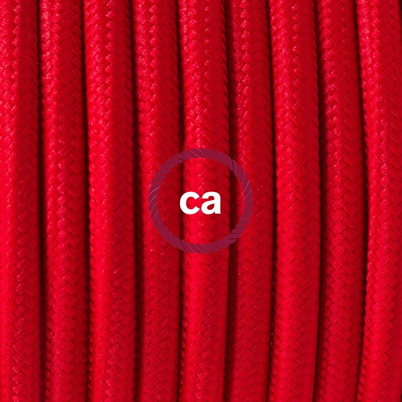 Pendel para pantalla, lámpara colgante cable textil Rojo en tejido Efecto Seda RM09