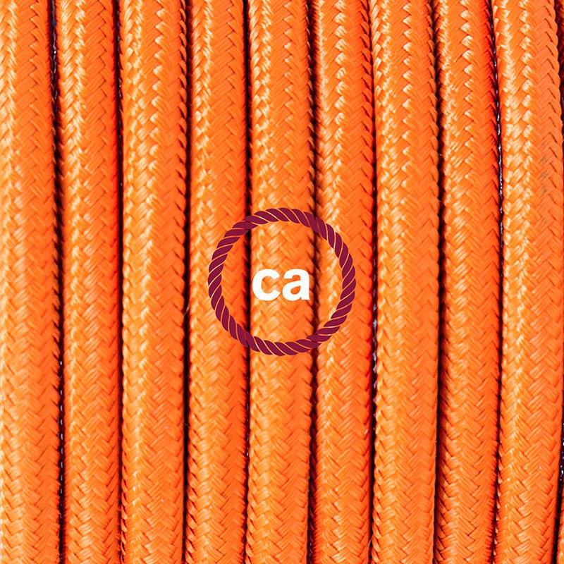 Pendel para pantalla, lámpara colgante cable textil Naranja en tejido Efecto Seda RM15