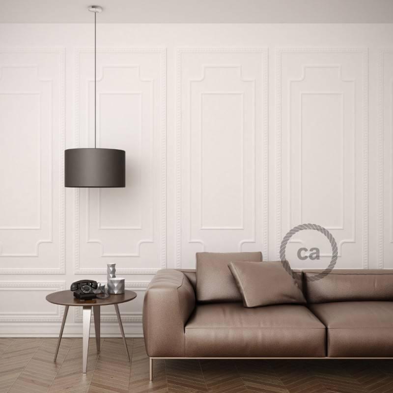 Pendel para pantalla, lámpara colgante cable textil Verde Oscuro en tejido Efecto Seda RM21