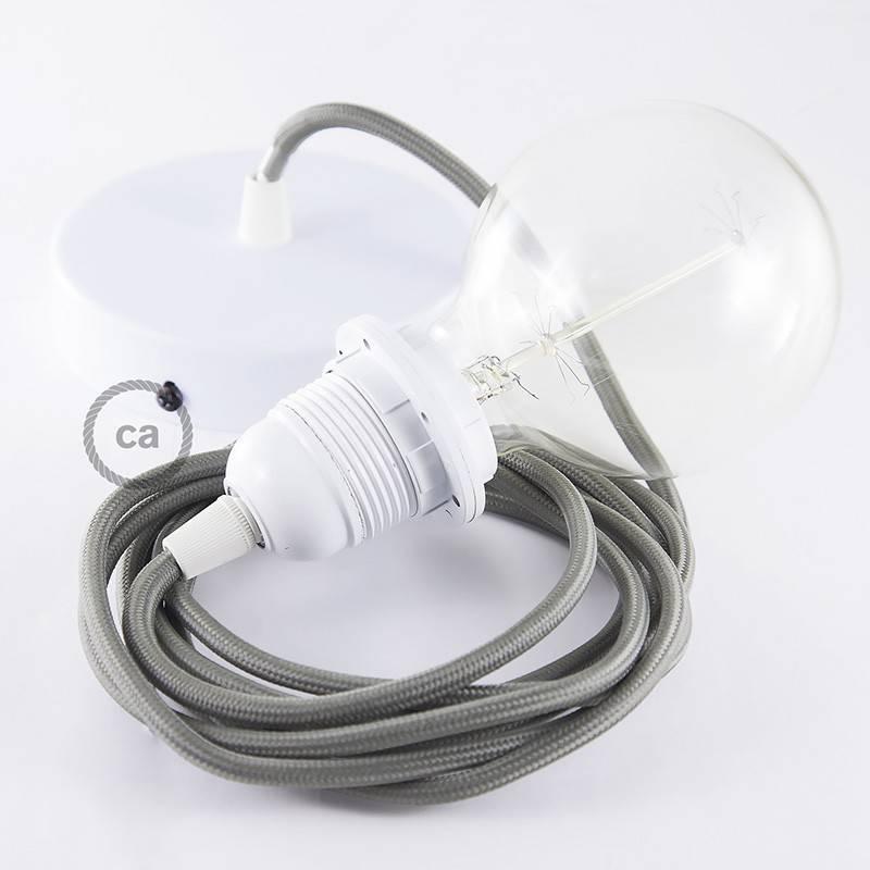 Pendel para pantalla, lámpara colgante cable textil Gris en tejido Efecto Seda RM03