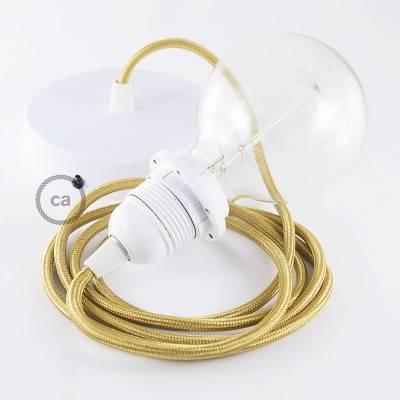 Pendel para pantalla, lámpara colgante cable textil Dorado en tejido Efecto Seda RM05
