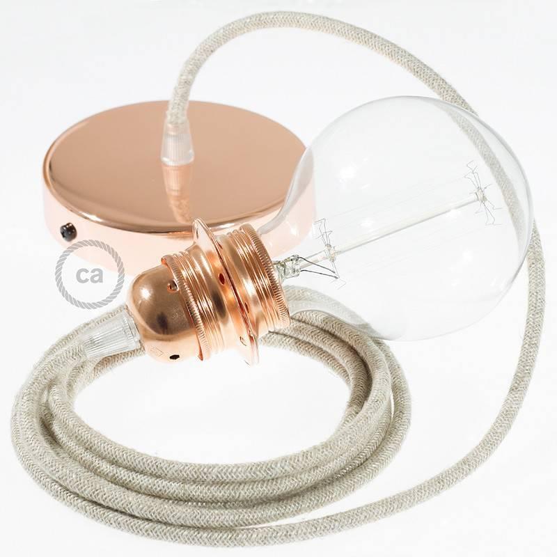 Pendel para pantalla, lámpara colgante cable textil Neutro en Lino Natural RN01