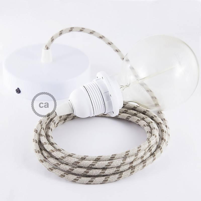 Pendel para pantalla, lámpara colgante cable textil Stripes Corteza RD53