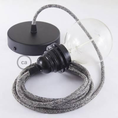 Pendel para pantalla, lámpara colgante cable textil Negro Glitter en Lino Natural RS81