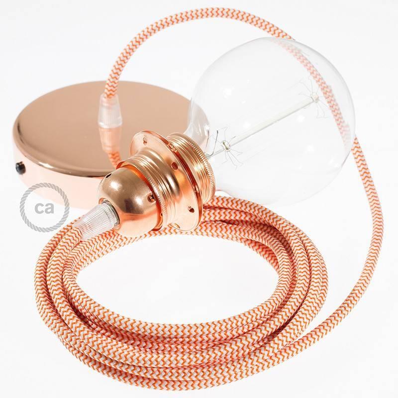 Pendel para pantalla, lámpara colgante cable textil ZigZag Naranja RZ15