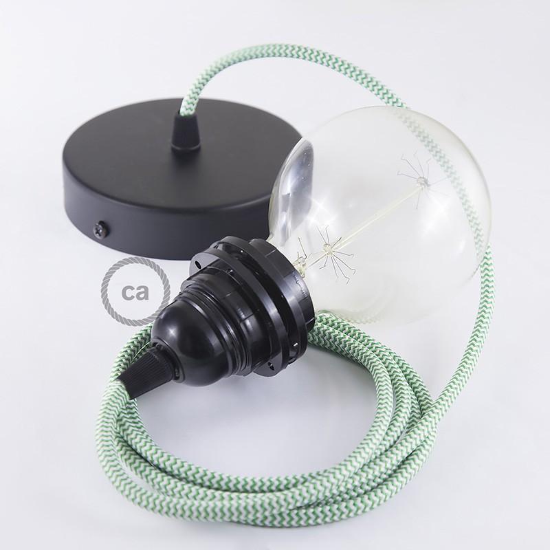 Pendel para pantalla, lámpara colgante cable textil ZigZag Verde RZ06