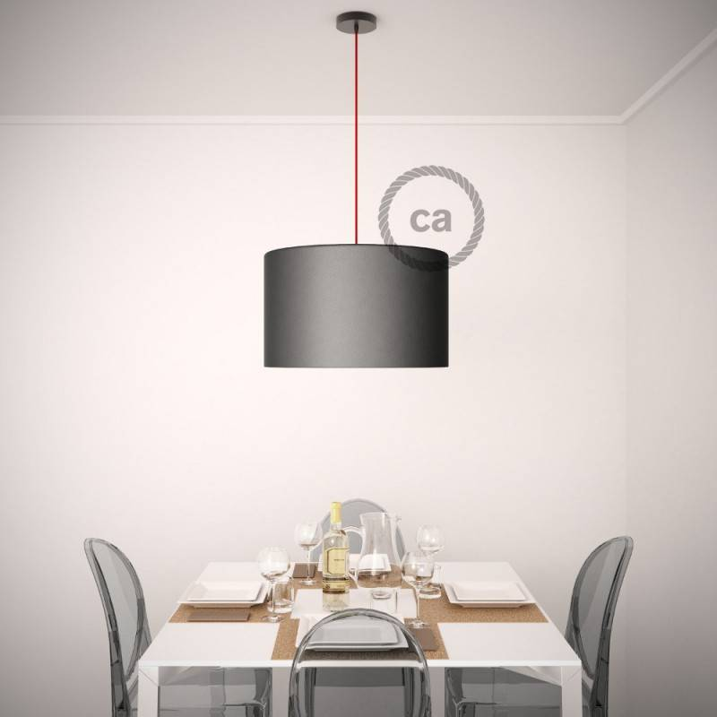 Pendel para pantalla, lámpara colgante cable textil Naranja Fluo RF15