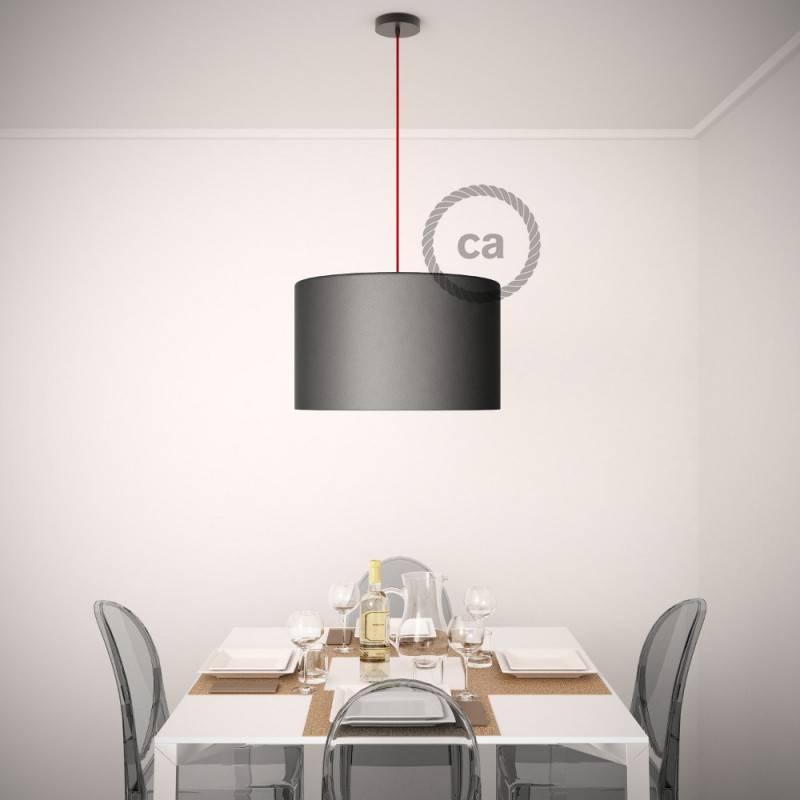 Pendel para pantalla, lámpara colgante cable textil Negro en tejido Efecto Seda TM04