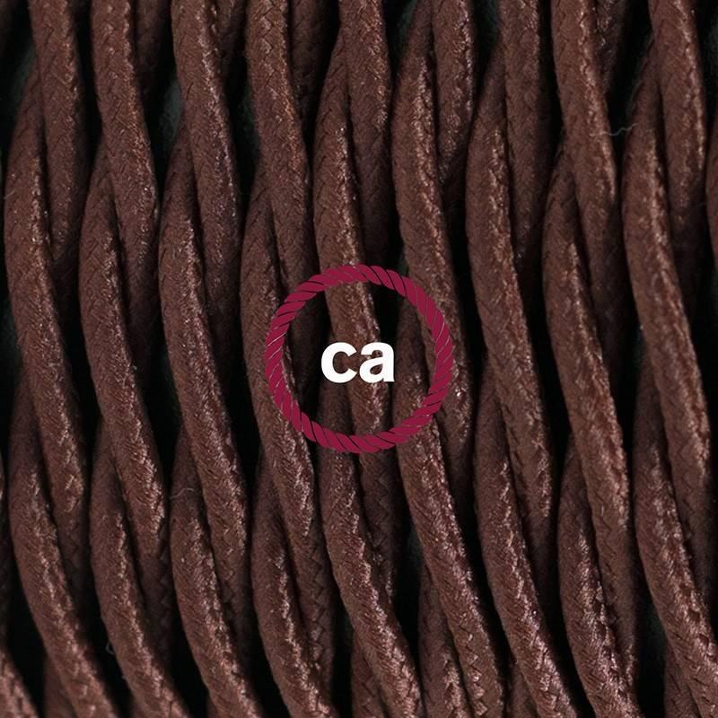 Pendel para pantalla, lámpara colgante cable textil Marrón en tejido Efecto Seda TM13