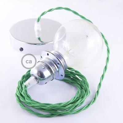 Pendel para pantalla, lámpara colgante cable textil Verde en tejido Efecto Seda TM06