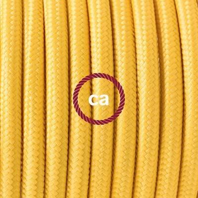 Pendel en porcelana, lámpara colgante cable textil Amarillo en tejido Efecto Seda RM10