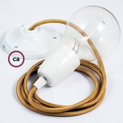 Pendel en porcelana, lámpara colgante cable textil Dorado en tejido Efecto Seda RM05