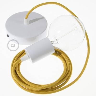 Pendel único, lámpara colgante cable textil Mostaza Efecto Seda RM25