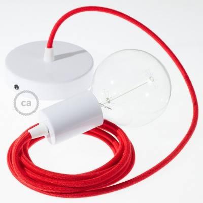 Pendel único, lámpara colgante cable textil Rojo Fuego Algodón RC35