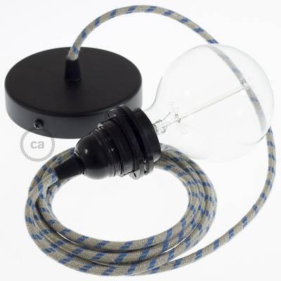 Pendel para pantalla, lámpara colgante cable textil Stripes Azul Steward RD55