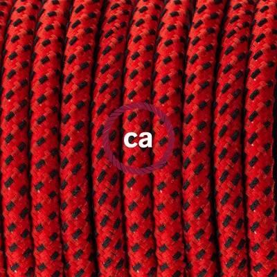 Pendel en porcelana, lámpara colgante cable textil Red Devil 3D RT94