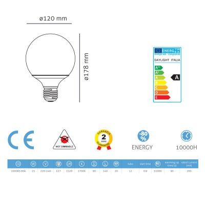 Bombilla de bajo consumo energético Globo 90 25W E27