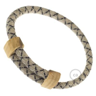 Creative-Bracelet en Algodón y Lino Natural Antracita RD64. Cierre corredero en madera. Made in Italy.