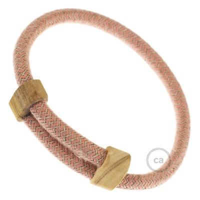 Creative-Bracelet en Algodón y Lino Natural Rosa Viejo RD71. Cierre corredero en madera. Made in Italy.