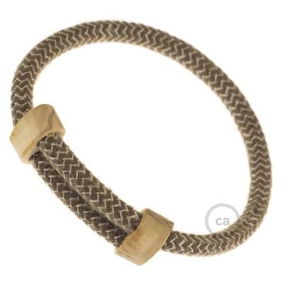 Creative-Bracelet en Algodón y Lino Natural Corteza RD73. Cierre corredero en madera. Made in Italy.