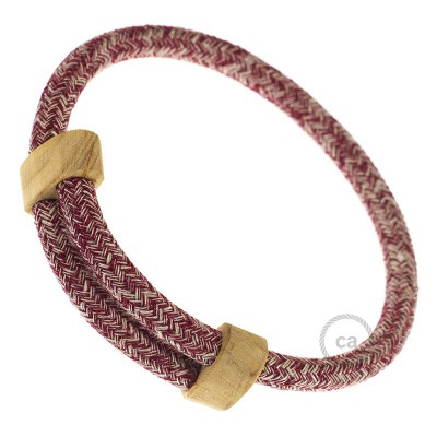 Creative-Bracelet en Algodón y Lino Natural Tweed Burgundy RS83. Cierre corredero en madera. Made in Italy.