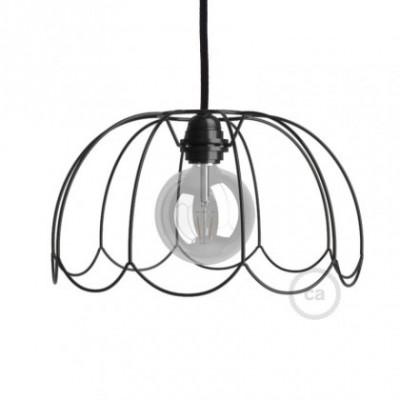 Jaula lámpara desnuda Flower metal color Negro casquillo E27