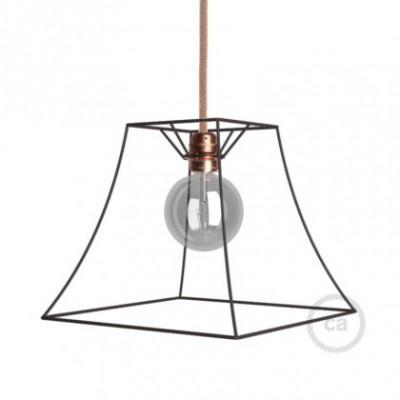 Jaula lámpara desnuda Pirámide metal color bruñido casquillo E27