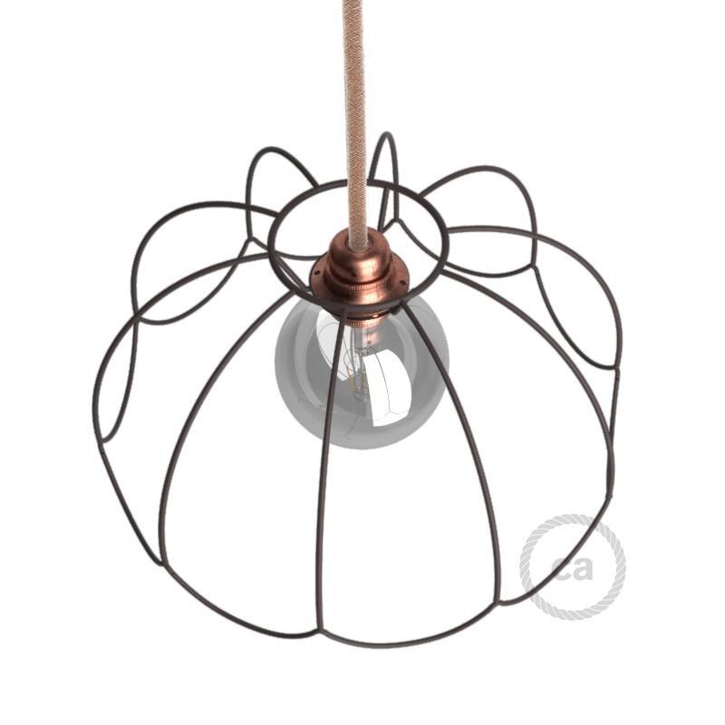Jaula lámpara desnuda Flower metal color bruñido casquillo E27