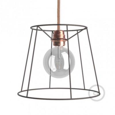 Jaula lámpara desnuda Cono metal color bruñido casquillo E27