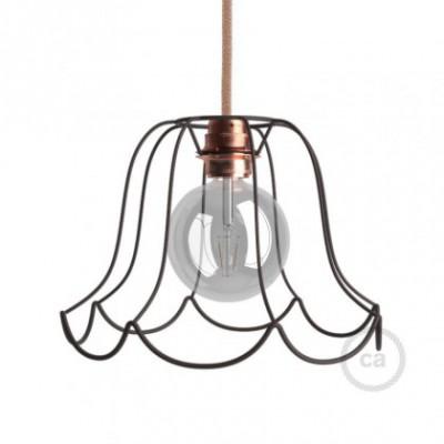 Jaula lámpara desnuda Susy metal color bruñido casquillo E27