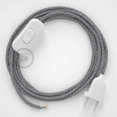 Cableado para lámpara, cable RD65 Algodón y Lino Rombo Azul Steward 1,8m. Elige tu el color de la clavija y del interruptor!