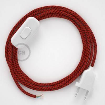 Cableado para lámpara, cable RT94 Efecto Seda Red Devil 1,8m. Elige tu el color de la clavija y del interruptor!