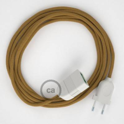 Alargador eléctrico con cable textil RC31 Algodón Miel Dorado 2P 10A Made in Italy.