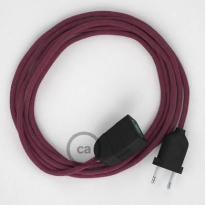 Alargador eléctrico con cable textil RC32 Algodón Rojo Violeta 2P 10A Made in Italy.