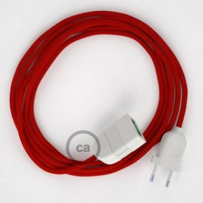 Alargador eléctrico con cable textil RM09 Efecto Seda Rojo 2P 10A Made in Italy.
