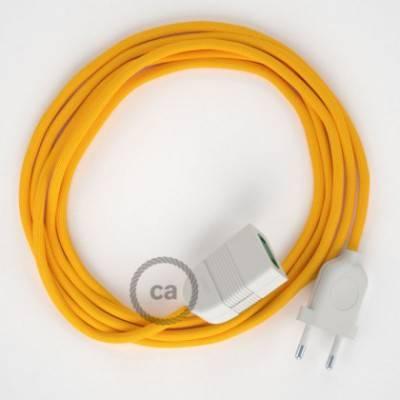 Alargador eléctrico con cable textil RM10 Efecto Seda Amarillo 2P 10A Made in Italy.